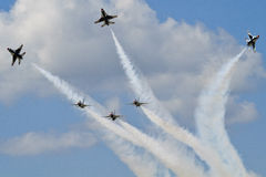 Six Thunderbird Jets in Formation Maneuvers. At Tinker Airbase Stock Images