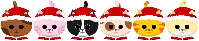 Six tiled litle Santa cats Royalty Free Stock Photo
