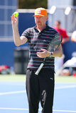 Six times Grand Slam champion Boris Becker coaching Novak Djokovic for US Open 2014 Royalty Free Stock Images