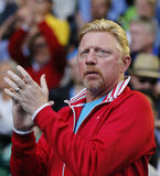 Six times Grand Slam champion Boris Becker supports Novak Djokovic of Serbia during his round 4 match at Australian Open 2016 Royalty Free Stock Image