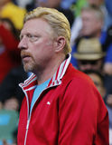 Six times Grand Slam champion Boris Becker supports Novak Djokovic of Serbia during his round 4 match at Australian Open 2016 Stock Photography