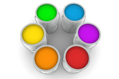 Six Tin of Paint  Color Swatch Stock Photos