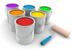 Six Tin of Paint and Roller Brush Royalty Free Stock Image