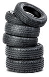 Six Tires On The White Background Royalty Free Stock Photo