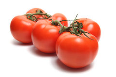 Six Tomatoes. Three tomatoes on white background Stock Images