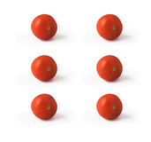 Six tomatoes isolated on white background Stock Photography
