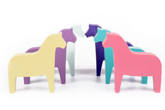 Six Toy Colored horses Royalty Free Stock Photo