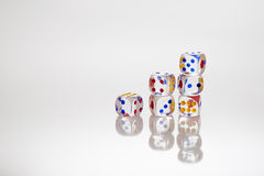 Six transparent dices Royalty Free Stock Images