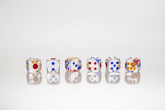 Six transparent dices Royalty Free Stock Photography