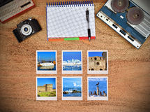 Six travel foto card. Stock Photo