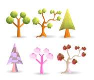 Six tree polygon vector illustration