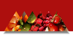 Six triangles full of various fruits. Six aligned triangles full of fruity textures: orange pieces, tangerines, limes, strawberries, raspberries and cherries, on Stock Photo