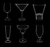 Six types de cocktail différent vident des glaces Photographie stock libre de droits