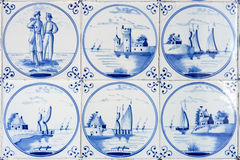 Six typical blue delft tiles Stock Photography
