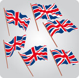 Six UK flags Royalty Free Stock Images