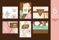 Six Unique Vector Vintage Floral Wedding Thank You Cards Set with text, repeat pattern backgrounds perfect for any event Royalty Free Stock Photos