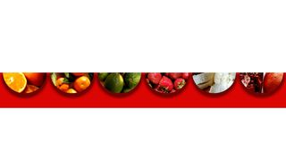 Six upside down semicircles full of fruity textures Stock Photography