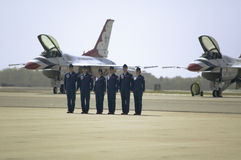 Six US Air Force male and female pilots Royalty Free Stock Photo