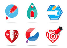 Six vaccine flat design. For logo, symbol, icon, and sign Stock Photo
