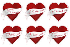 Six Valentine's hearts. Set of six Valentine's hearts with different texts Stock Image