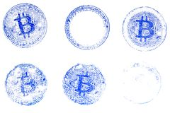 Six variants of the virtual currency Bitcoin blue stamp on white paper. For the design of documents on the crypto currency. Royalty Free Stock Image