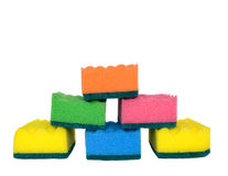 Six varicoloured kitchens sponges Stock Photo