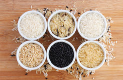 Six varieties of uncooked rice Royalty Free Stock Image