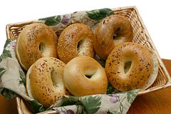 Six Variety Bagels in a Basket stock photo