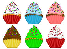 Six Variety Cupcakes with Sprinkles Illustration Stock Photos