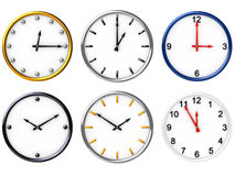 Six various clocks. Six 3D clocks for your choice (image can be used as icon or abstract background for printing and web Stock Photo