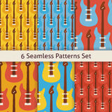 Six Vector Flat Seamless Rock Music Instrument Guitar Patterns S Royalty Free Stock Images