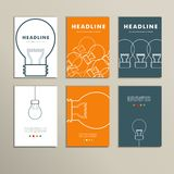 Six vector line patterns brochures with lights vector illustration