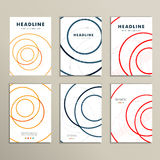 Six vector pattern with abstract circle brochures Royalty Free Stock Photos
