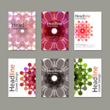 Six Vector pattern brochure with abstract figures Royalty Free Stock Photos