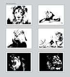 Six vector posters with traced lion heads. Ansi A format mockup royalty free illustration