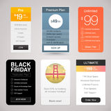 Six Vector Pricing Tables for Web. With different designs Royalty Free Stock Photos