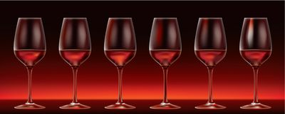 Six vector red wine glasses. Six red wine glasses on dark background Royalty Free Stock Photography