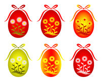 Six versions of Easter egg with daisy decor Stock Photo