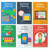 Six vertical banners FINANCIAL ACCOUNTANT. Vector six vertical banners financial and planning concept. Three - financial, worktime and budget planning. Other Royalty Free Stock Images