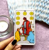 Six VI of Pentacles Tarot Card Charity Generosity Support. This card is about Hiring Employment Social Welfare Charity Patronage Sharing Generosity Gifts royalty free stock image