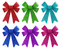 Six vibrant colors glitter gift bow set Stock Photography