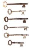 Six vieilles clés rouillées. Image libre de droits