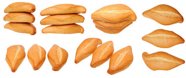 Six views of three breads Royalty Free Stock Photography