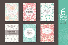 Six vintage floral wedding, save the date invitations card set with bride and groom names, text, repeat pattern Stock Photos