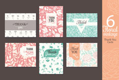 Six vintage floral wedding thank you card set with fun frmaes, text, retro floral repeat pattern backgrounds perfect for Royalty Free Stock Photography