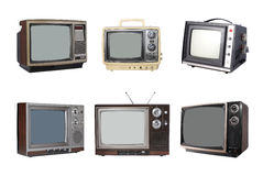 Six vintage TV sets. Six vintage TV's, isolated on white background stock photos