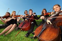 Six violinists sit on  grass and play. Six violinists sit on green grass and play Stock Photography