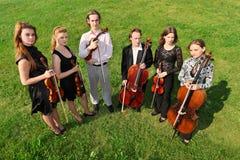 Six violinists stand semicircle on  grass. Six violinists stand semicircle on green grass Stock Photo