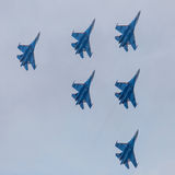 Six war jet planes in sky Stock Photography