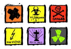 Six warning signs,grungy,vector eps. Set of six warning signs, grungy and splattered, vector, each item is grouped for better handling, color and size changeable Stock Images